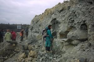 Des g�ologues collectent des fossiles.